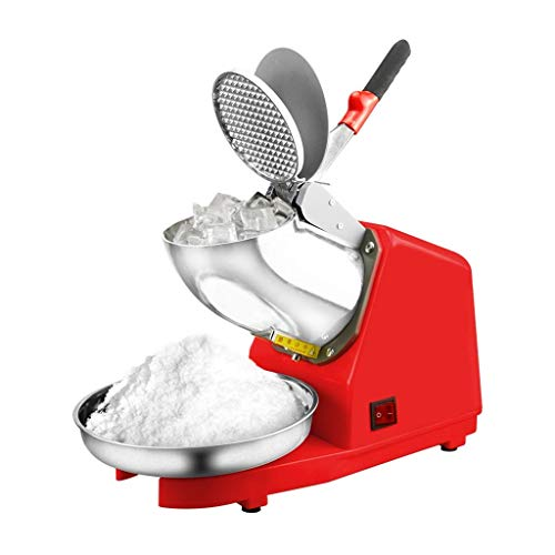 A-Lnice Elektrischer Eisrasierer 300W 1500r / min w/Shaved Ice Schneekegel Maker Küchenmaschine 85Kg / Stunde für Haushalt & Gewerbe, rot (Ice Maker Machine 220v)
