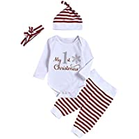 My1st Christmas Outfits for Toddler Baby Long Sleeve Romper Tops+Striped Pants+Headband Hat uBabamama(Red,Recommended Age:6-12 Months/80)