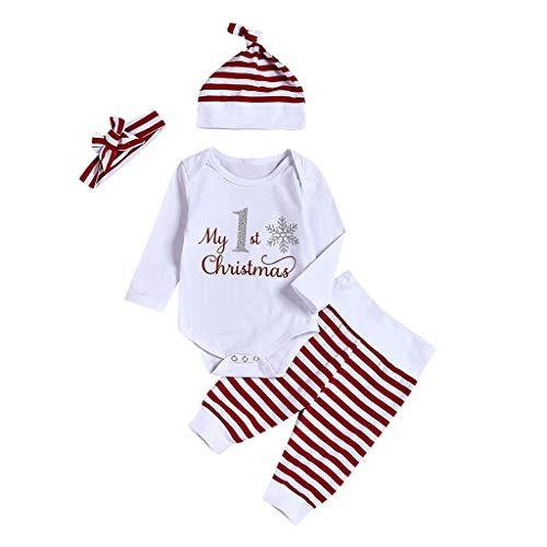 SUMTTER Weihnachten Baby Kleidung Set Christmas Cosplay Kostüm für Neugeborenes Jungen Mädchen Baby Strampler + Stirnband + Hose + Hut Outfits Set