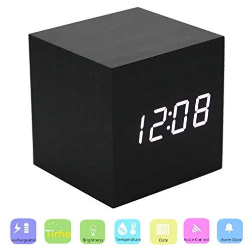 PluieSoleil Sveglia Digitale Ricaricabile con Attivazione Touch Sonora, Orologio da Tavolo LED con 4 Livelli di Luminosità, Tempo Temperatura Calendario Display Risparmio Energ USB