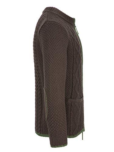 Almbock Strickjacke Tracht Braun | Strickjacke XL mit Reißverschluss | Herren Trachten Jacke in Braun Größe XL - 2