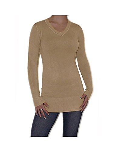 S&LU Eleganter Damen Feinstrick-Longpullover mit V-Ausschnitt Größe XS-XL Hellbraun