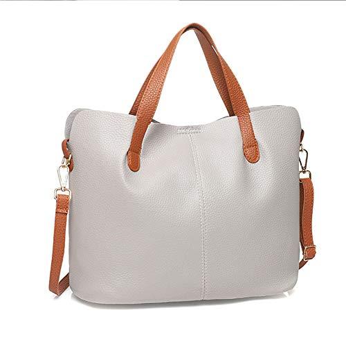 Leobtain Frau Tote Tasche 2 in 1 Handtasche Schultertaschen Set Leder Innentasche für Damen Shopper Notebooks Weiches PU-Leder