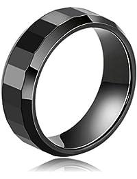 Daesar Joyería Anillo Cerámico Compromiso Pulido en Forma de Diamante Alianzas Boda Banda Negro