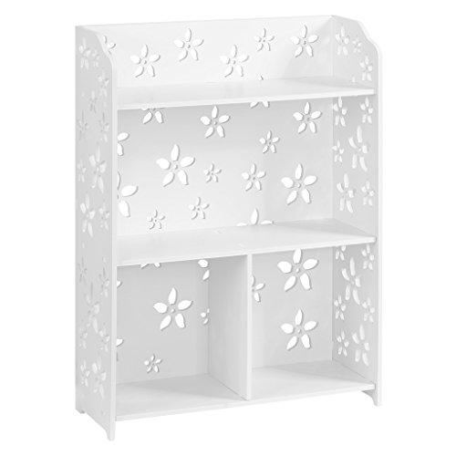 Finether 3 Böden weißes Regal Standregal Bücherregal Wandregal Aufbewahrungsregal aus WPC für Schlafzimmer Wohnzimmer Badezimmer zur Aufbewahrung von Bücher Schuhe Toilettenartikel wasserdicht 60 x 22 x 80 cm