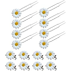 SwirlColor Pinza de Pelo el Cabello de Margarita Horquillas para el Cabello de Flor Accesorios para el Cabello para la Novia de Novia Mujer Decoración para el Pelo 16PCS (Blanco)