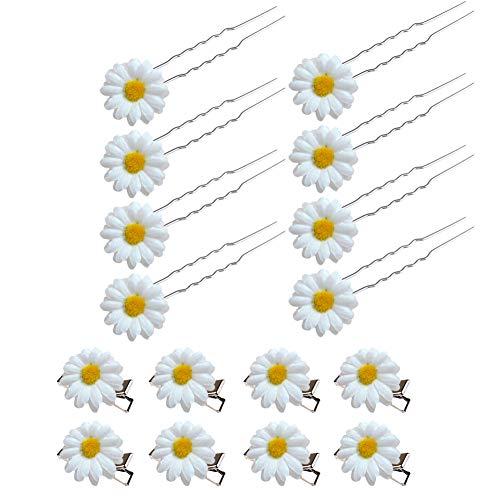 SwirlColor Haarnadeln Hochzeit Blume Haarnadeln Set Daisy Haarschmuck für Braut Haarschmuck Blumen Mädchen 16 STÜCKE (Weiß) - Pins Braut-haar