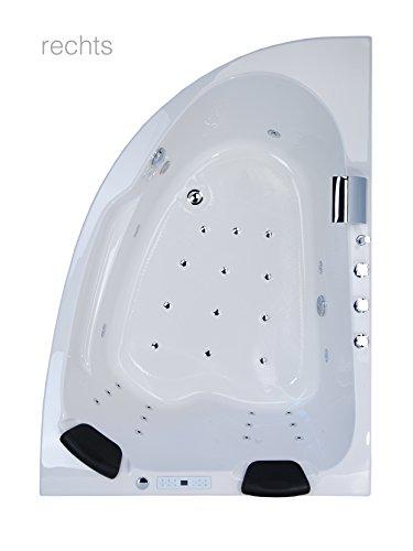 Whirlpool Eckbadewanne - Juist Premium 2 Personen Whirlwanne Indoor Made in Germany Eckwanne NEU inkl. Armatur (rechts Variante)