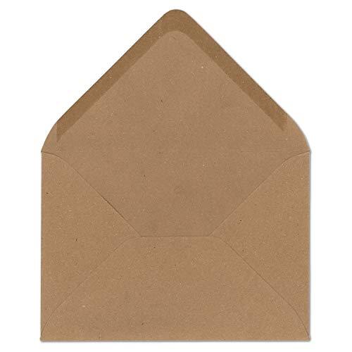 50 DIN B6 Briefumschläge aus Kraft-Papier Vintage Braun Recycling 17,8 x 12,5 cm 120 g/m² Nassklebung Post-Umschläge ohne Fenster ideal für Weihnachten Grußkarten Einladungen von Ihrem Glüxx-Agent