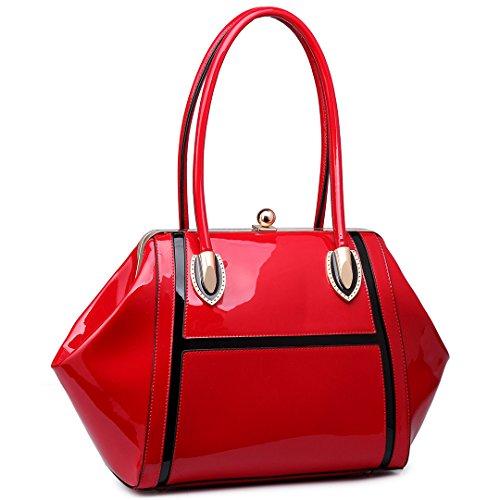Miss LuLu Henkeltasche Handtasche Elegant Schultertasche Shopper Tote Bag Patent PU-Leder (Rot) (Leder-shopper Patent)