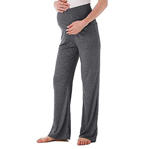 Mutterschaft Stretch Hose (Damen Schwangerschaftshose, Modaworld Mutterschaft Hose, breit, gerade, Schwangerschaftshose, Stretch L dunkelgrau)