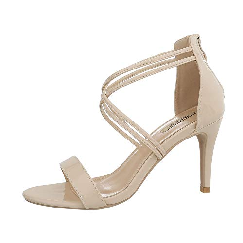 Ital-Design Damenschuhe Sandalen & Sandaletten High Heel Sandaletten Synthetik Beige Gr. 40