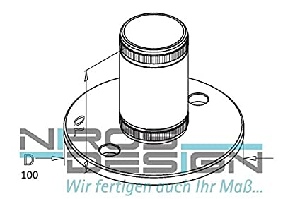 2 x Bodenanker, Wandflansch - Flansch AISI304, D100 / für D33,7 / d8 von NIROS Design bei Du und dein Garten