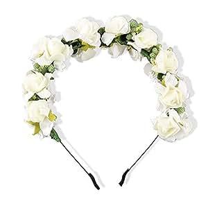 Réf1Z28 ST.59 - Accessoires Cheveux Cérémonie Femme ou Enfant - Serre-Tête Mariage - Couronne de Fleurs Blanches - Style Boho - Bohème Chic
