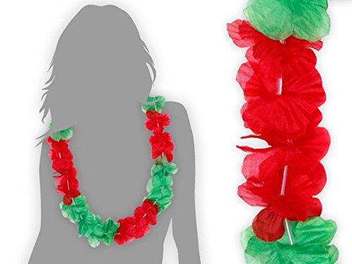 Lot de 48 collier Hawaïen rouge vert HK-12 hawaien Hawaï hawaii Hula fleur pétale ambiance tropique déguisement fête beach party été plage printemps accessoire fête mariage anniversaire