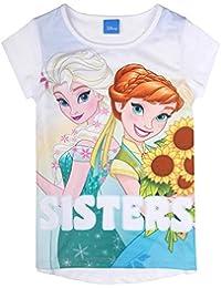 ccdebdf6432aa8 Disney Ragazze Il Regno di Ghiaccio, Frozen Maglietta, T-Shirt, Bianco