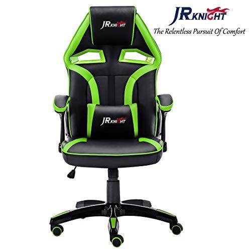 JR Knight - Silla estilo deportivo, oficina en casa, gaming, silla giratoria exclusiva de piel, color Black&Green
