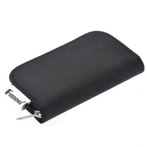 Foxnovo Portable 22Slots SD SDHC MMC CF Micro SD Speicher Karte Inhaber Tasche mit Reißverschluss Speicherung Tasche inkl. (schwarz)