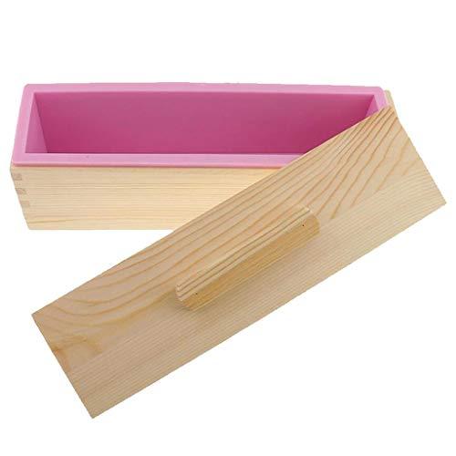 Baoblaze Rechteck Silikon Holz Kastenform Königskuchenform Brotbackform mit Deckel, DREI Größe Auswahl - Rosa 3