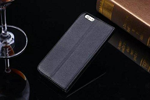 EKINHUI Case Cover Litchi Haut-Beschaffenheit Hochwertige echtes Leder-Standplatz-Fall-Abdeckung mit Einbauschlitz für IPhone 6 u. 6s ( Color : Rose ) Black