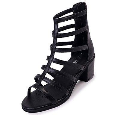 LvYuan Da donna Sandali PU (Poliuretano) Primavera Estate Cerniera Quadrato Nero 5 - 7 cm Black