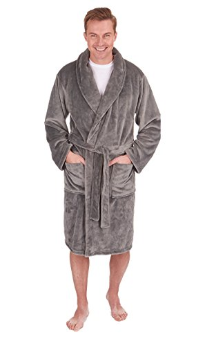Herren Luxus Fleece Morgenmantel Grau