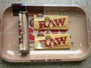 Raw Rolling Tray + Raw 110mm Roller + Raw King Size Rolling Papers Bundle by Raw (Raw Rolling Papers Bundle)