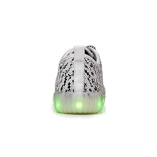 O&N LED Schuhe USB Aufladen Leuchtend Mesh Sport Schuhe schnürsenkel Sneakers Netzschuhe für Unisex Kinder Weiß