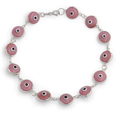 Bling Jewelry 925 argento sterlina rosa Evil Eye braccialetto di vetro 7 pollici