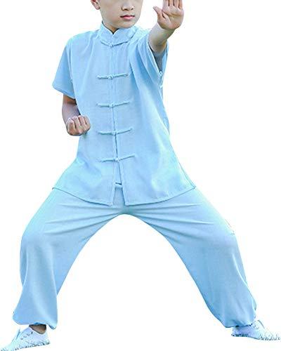 Mengmiao Kinder Unisex Kurze Ärmel Kampfsport Tai Chi Anzug 2-Teiliges Set Oberteile und Hosen Hellblau 120