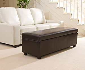 Sofa Collection Brand New Ottoman Sofa in Bonded Leather, Leather, Brown, X-Large, 45 x 120 x 43 cm