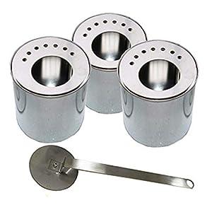Liefer-Umfang: - 3 Brennstoff-Dosen, Fassungsvermögen 0,5L, leer, aus Weissblech. Durchmesser: 8,8 cm - Höhe: 10 cm,  - 3 dazu passende Energie-Sparplatten, aus Edelstahl - 1 Flammenlöscher, aus Edelstahl  Die Energie-Spar-Platten sorgen für etwa 50%...