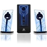GOgroove Gaming Satelliten Lautsprecher Set mit LED/Stereo 2.1 Gaming Lautsprechersystem Subwoofer für PC Spiele/PC Notebook Lautsprechersystem für Gamer und Computerspiele