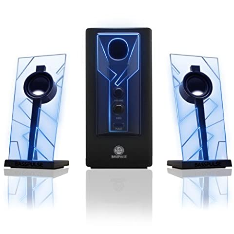 GOgroove BassPULSE 2.1 Satellite Stereo PC Computer Gaming Speakers & Surround Sound System with Blue LED GLOW lights & Powered Subwoofer for PC , Mac , Desktop / Laptop Computers & more