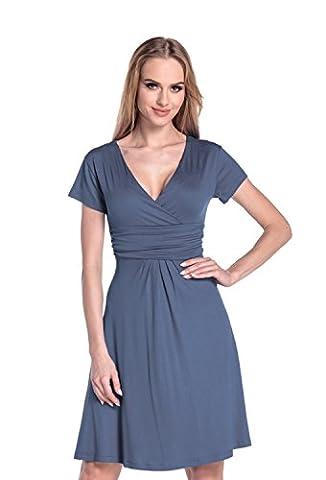 Glamour Empire. Femme. Robe à taille froncée. Robe en jersey manche courte.108 (Bleu Gris, EU 38, M)