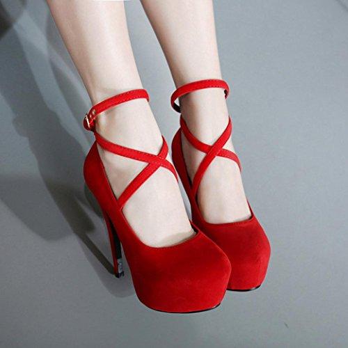 SOMESUN Womens Spring Thin High-Heeled Shoes, Donne Della Molla Casuale Dei Talloni Sottili Scarpe Shallow Punta Rotonda Scarpe Col Tacco Alto Red