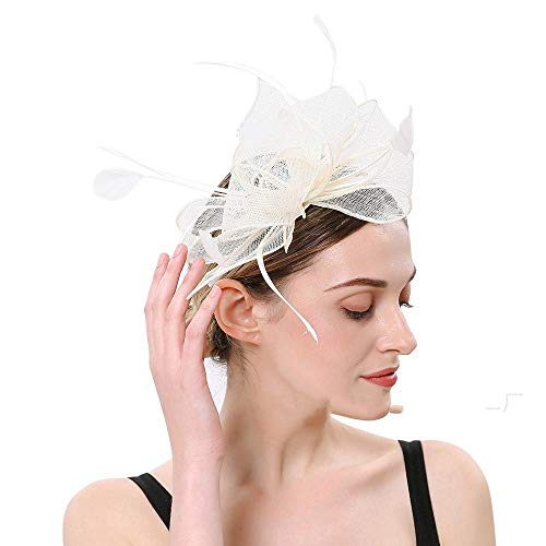 MELLRO Kopfbedeckung Frauen Hut Tea Party Stirnband Kentucky Derby Hochzeit Cocktail Blume Mesh Feder Haarspange (Color : White, Size : Free Size)