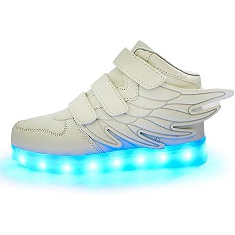LED 7 Colores Flash Luminosos Zapatos Alas de luz Zapatos USB Carga Velcro Wing Totem Zapatillas para Unisex Niño Niña