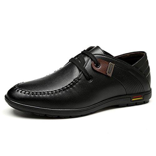 Genuíno Preto Couro Couro De Lazer Sapatos Respirável Dos Grrong Homens qwnvUXazv