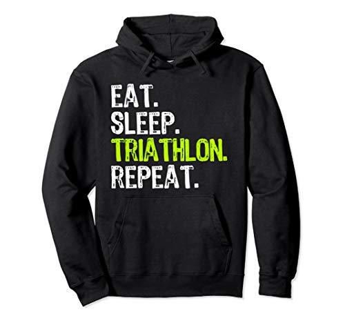 Eat Sleep Triathlon Repeat Triathlete Funny Gift Pullover Hoodie (Triathlon Hoodie)