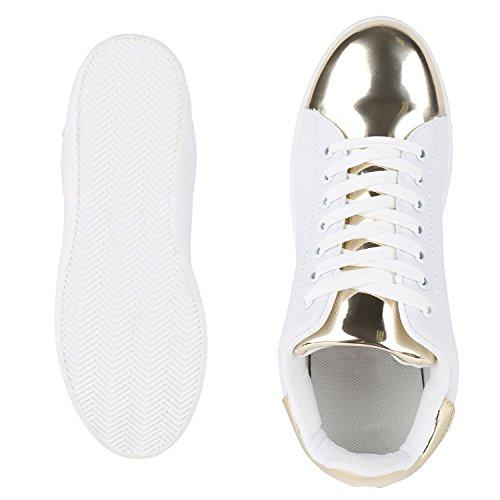 Modische Damen Sportschuhe | Bequeme Sneakers Low | Freizeit Schuhe | Hochwertige Verarbeitung | Gr. 36-41 Weiss Gold Bianco