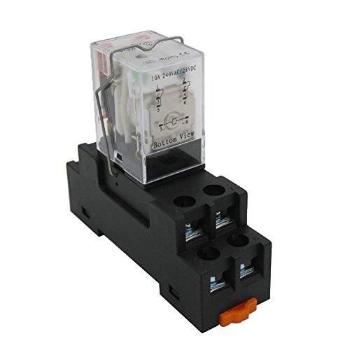 Taiss/AC 12V 24V 110V 220V DC 12V 24V 110V Coil(puede elegir) Relé de Energía Electromagnético 10A 2DPT 8 Pins 2NO+2NC LY2NJJT con YJTF08A-E Base de Enchufe (garantía de calidad para 2 años)