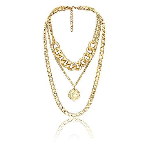 Textur Königin geprägt Anhänger Artikel Pullover Kette weibliche einfache Multilayer Halskette,Gold ()