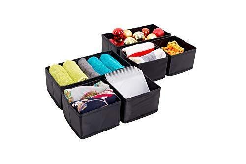 MalinSystem – Aufbewahrungsbox 6er-Set Set – Premium Stoffbox für Wäsche, Schmuck, Kosmetik und vieles mehr – Aufbewahrungskorb, Faltbox, Schubladen Organizer
