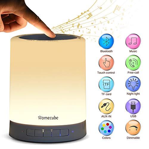 Nachttischlampe mit Bluetooth Lautsprecher, Homecube LED Nachtlampe Stimmungslicht mit Dimmer und Touch Sensor,7 Farbwechsel dimmbar für Schlafzimmer Kinder,Tragbarer Griff, Romantische Geschenke