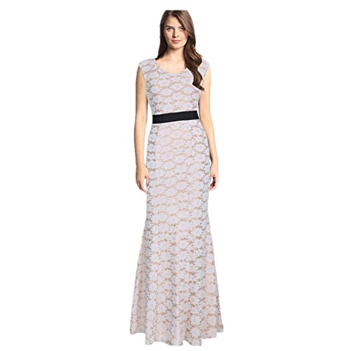 BOMOVO Damen Vintage Retro Festliche Kleider Langarm Sommerkleid Weiß