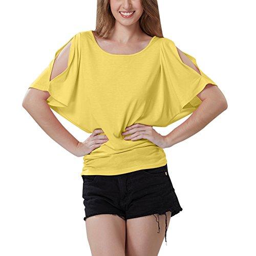 iBaste Été Sexy Femmes Casual Hors épaule T-Shirt Manches Chauve-souris Courtes T-Shirt Extensible Solide Tops Jaune