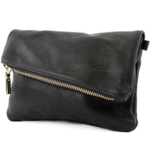 modamoda de -. ital petites dames de sac d'épaule de sac en cuir d'embrayage poignet Sac en cuir T95, Präzise Farbe (nur Farbe):Schwarz