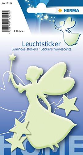 Herma 15124 Leuchtsticker (Fee & Sterne, ablösbar & wieder verwendbar, für Kinder)
