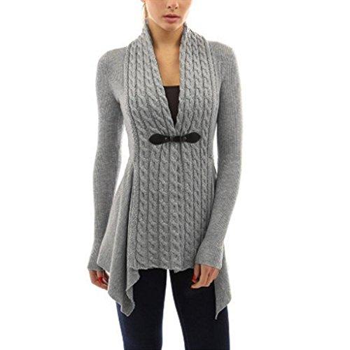 Damen Damen Lange Ärmel Pullover Strick Cardigan Outwear (L, Grau)